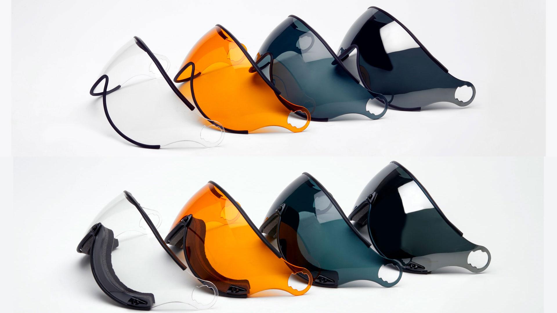 UVカット、曇り止め及び傷つき防止加工付きバイザー。風巻き込み防止のエアプロテクションフォームも取付可能。